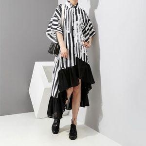 Dresses & Skirts - Asymmetrical Striped Ruffle Dress